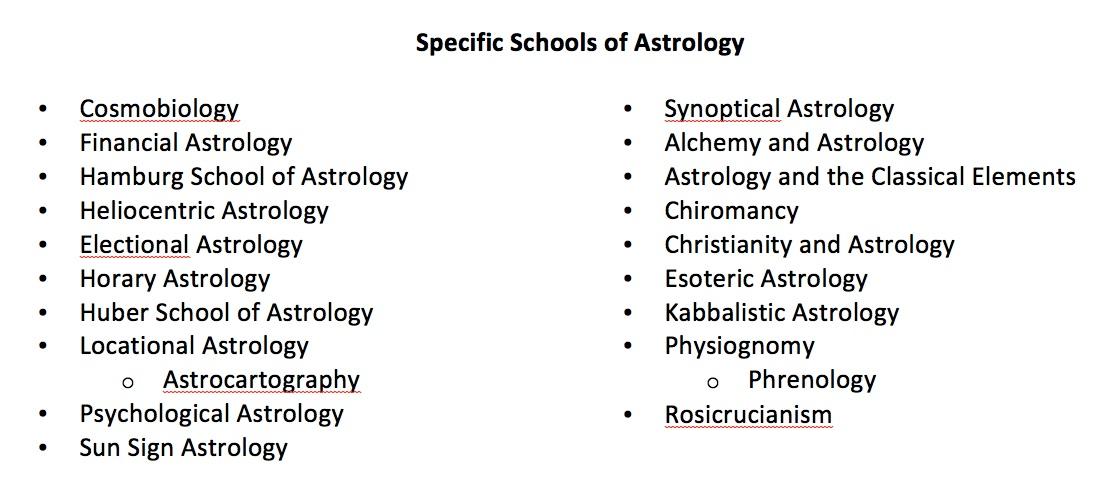specific schools of astrology